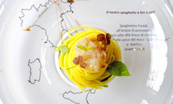 Spaghetto Freddo a Km 4925è il piatto dell'estate di Matteo Metullio, chefdelristoranteLa Siriola dell'hotel Ciasa Salares aBadia (Bolzano)