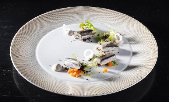 Acciughe in carpione: acciughe locali, aceto di Sirk, salvia del nostro orto, olive taggiasche, pinoli, maionese di acciuga(Giorgio Servetto)