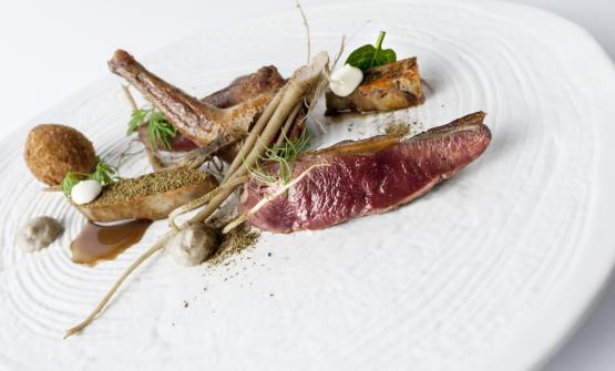 """Piccione alla brace, radici e """"foie gras"""" di r"""