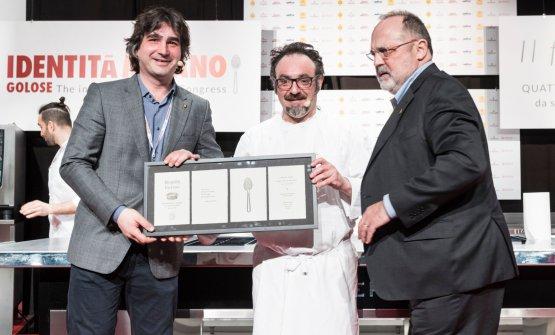 Luca Govoni, Paolo Lopriore e Paolo Marchi ritratti a Identità Milano 2018 (foto Brambilla-Serrani)