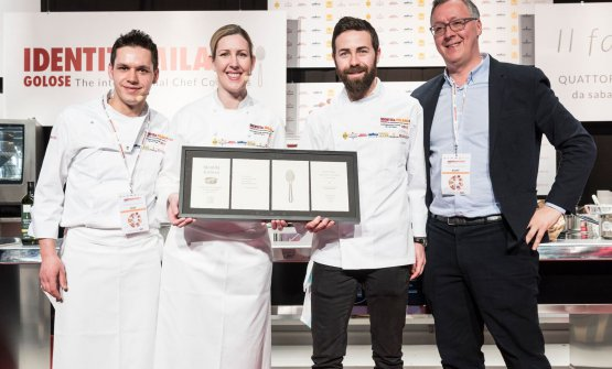 Davide Franco, Clare Smyth and Antonio Acquaviva with Gabriele Zanatta, who presented the lesson