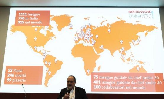 Paolo Marchi, e sullo sfondo i dati sulla Guida 2020