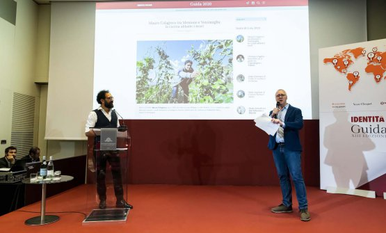 Gabriele Zanatta con Federico Quaranta, che ha presentato l'evento