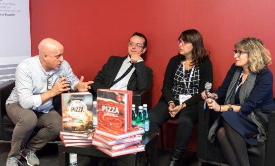 I tre autori con Corrado Scaglione(Enosteria Lipen, Triuggio – Mb)
