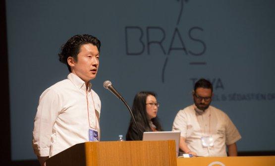 Simone Cantafiopresented at the World Cuisine Academic Meetingby his colleague MasaakiYokosukaof MiYa-Viein Sapporo, one Michelin star