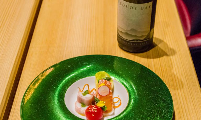 The well deserving food and wine pairings created by chef Niimori Nobuya