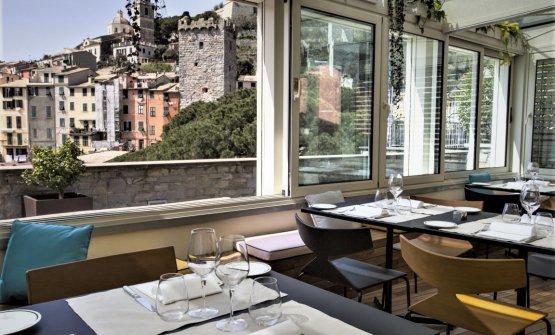 La sala del Palmaria Restaurant, all'interno del Grand Hotel Portovenere