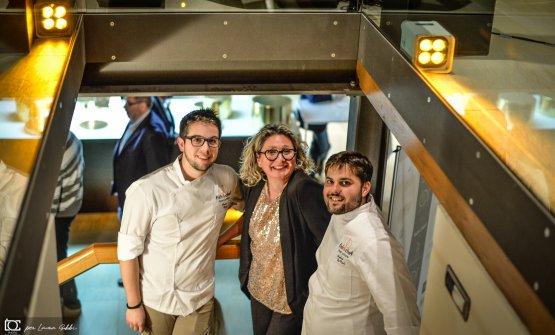 Laura Gobbi conAndrea De Carli e Marco Cozza, giovani chef del Rose Salò