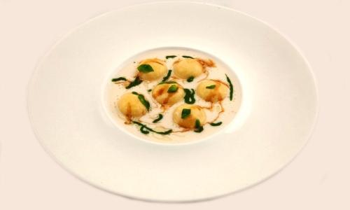 Birra Moretti explosion with Parmesan sauce, basil