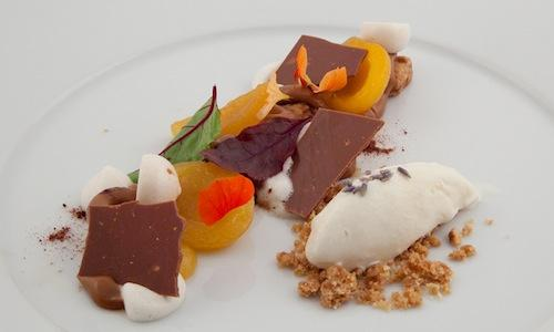 "Simply ""La Rossa"", that is to say Apricot with mace, milk chocolate, caramel biscuit, beer meringue, powdered barley and lavender ice-cream... is one of the two dishes in the menu thanks to which Luigi Salomone, sous-chef at restaurant Marennà in Sorbo Serpico (Avellino), won the third edition of Premio Birra Moretti Grand Cru (photo by Francesca Moscheni)"