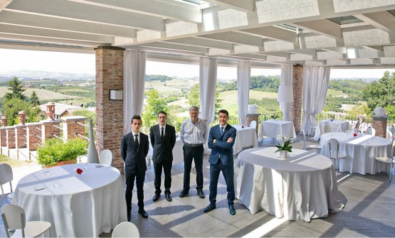 PatronFabrizio Ventura, second to the right, with the dining room staff