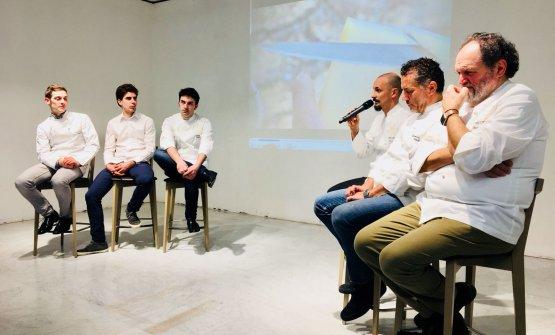 Il Team Italia per il Bocuse d'Or:da sinistraCurtis Clément Mulpas, François Poulain, Martino Ruggieri, Enrico Crippa, Giancarlo Perbellini, Luciano Tona