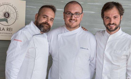 La squadra che guida la cucina de La Rei. Da sinistra: l'Executive Chef Fabrizio Tesse, il Resident Chef Alberto Bai e il Pastry Chef Marco Sforza