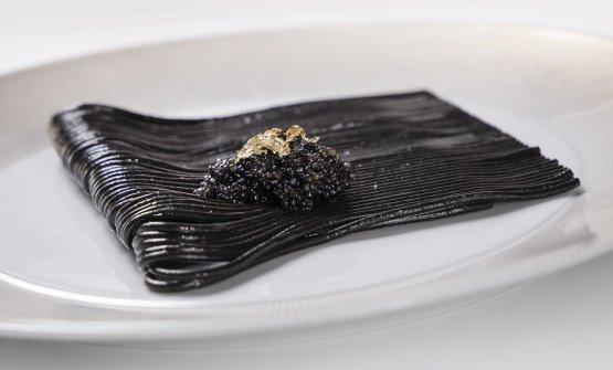 Spaghetto al Nero, Caviale, Olio EVO del Garda