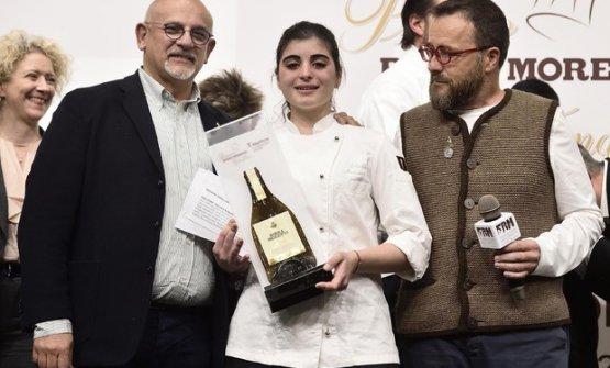 Claudio Sadler e Giancarlo Morelli con la vincitrice dell'anno scorso, Solaika Marrocco