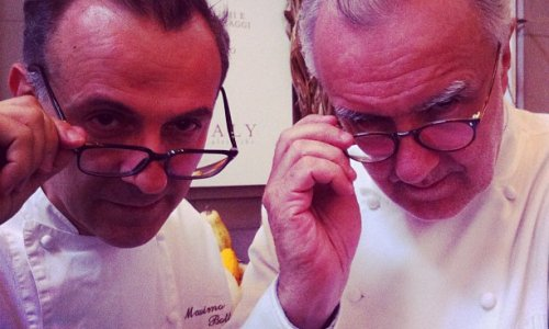 Bottura and Ducasse in 2012 at Identità New York