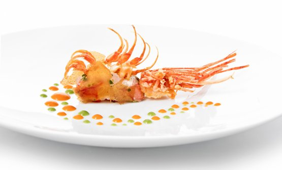 Crudo di gambero rosso di Sicilia, carta di crostacei e salsa romesco, uno degli antipasti del menu firmato Riccardo Bassetti, il 19 febbraio