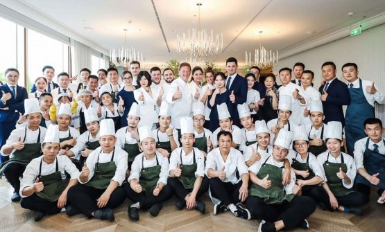 The team of Da Vittorio Shanghai, which opened a