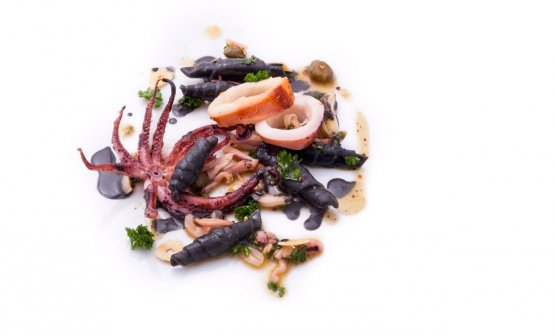 Garganelli with squid ink and calamari