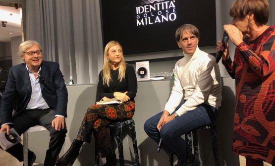Vittorio Sgarbi,Maria Luisa Agnese,Davide OldanieLella CostaaIdentità Golose Milanoper la presentazione ufficiale del libro