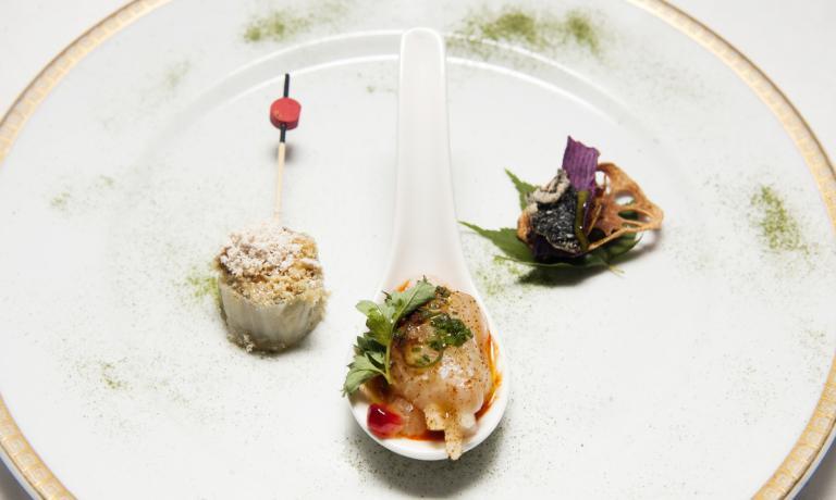 Left to right, Foie gras and kimchi, baek kimchi a