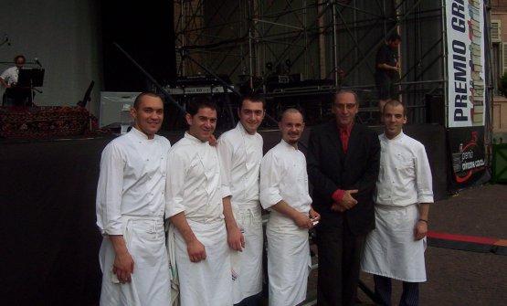 Qui Bellingeri e Crippa, al centro, erano con Franco Battiato