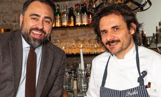 Lo chefAntonio Zaccardi, a destra, con Antonello Magistà, super-patron del Pashà di Conversano (Bari)