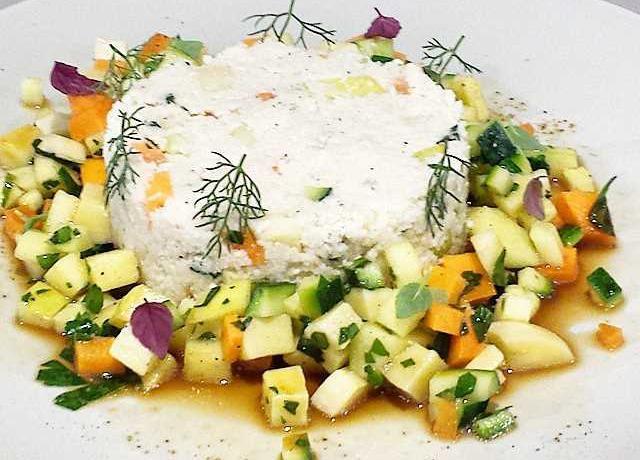 Cauliflower cous cous with fresh veggies and tamari sauce, from Mantra Raw Vegan