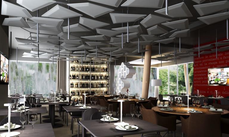 La sala del temporary restaurant di Identità Expo S.Pellegrino