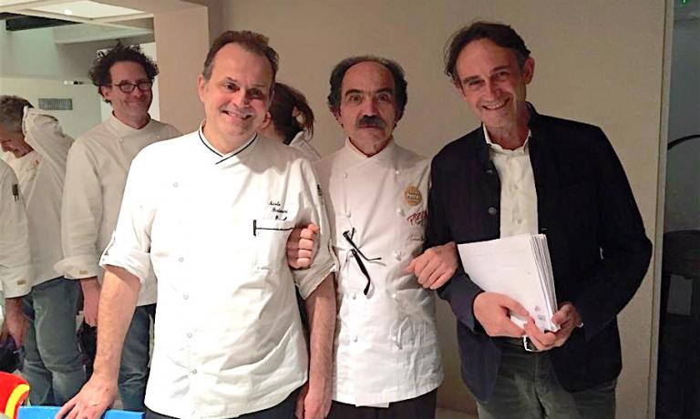 Nasti with Nicola Portinari, chef at La Peca, and Piero Gabrieli of Molino Quaglia