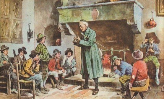 """Un'illustrazione tratta dalla pagina Facebook dell'Istituto Paolo Frisi.E' tratta dal libro: AA.VV., """"Fanciulli. Sussidiario per il secondo ciclo della scuola primaria, classe terza"""", Como, Noseda, 1955, p. 200. E' rappresentato un quadro del pittore Bergamini"""