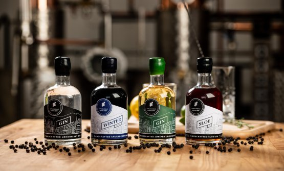The 4 gins produced by Little Urban Distillery, in Brno