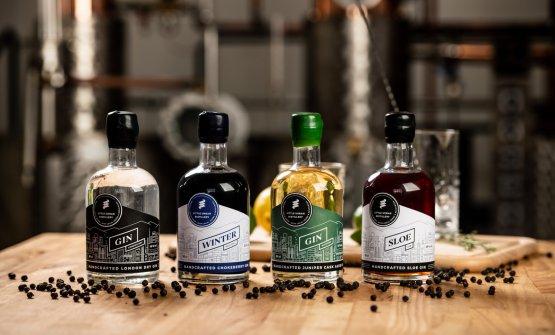 I 4 gin prodotti dalla Little Urban Distillery, realizzati a Brno