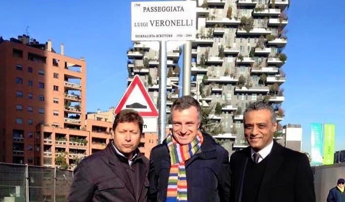 Hosam Eldin with Alfredo Zini and Gian Arturo Rota at the opening of the walk recently dedicated in Milan to Luigi Veronelli