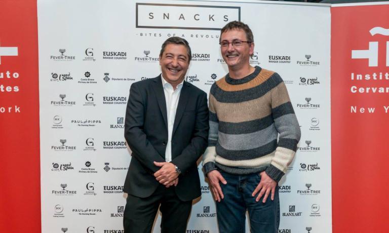 Joan Roca e Andoni Aduriz alla presentazione di Snacks