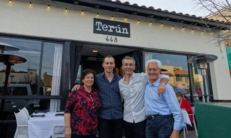 The Campilongo brothers with their parents in front of their restaurant in California