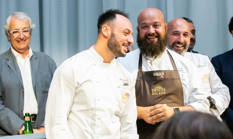 Una più recente foto di Schingaro a Identità Golose Milano, con Davide Rampello, Alessandro Rinaldi e Andrea Ribaldone