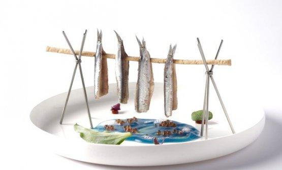 Ricordo di Lofoten:Alici marinate, acqua di mare, peperone di Piquillo, foglie d'ostrica e grissino al finocchio