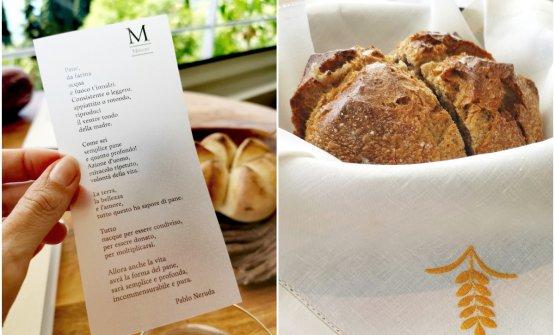 A sinistra il pane condiviso, servito con olio aromatizzato al limone e pepe rosa e un estratto dell'Ode al Pane di Pablo Neruda. A destra un pane 100%farina di segale con levain, lievito madre a coltura liquida ottenuto dalla fermentazione del succo della frutta. Entrambi preparati a Mitron Bakery, il panificio di Mauro Colagreco nel cuore di Menton