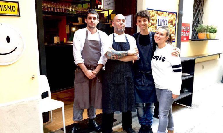 Lo staff di Panino. Da sinistra a destra Antonio Pannunzi, Christian Baglioni Lo Russo, Stefano Mancini e Daniela Zannella