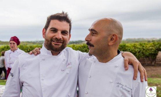 Adriano Baldassarre (a sinistra) con il collega Anthony Genovese del Pagliaccio(fotobiosagraforkids.it)
