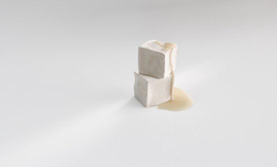 Azar, velvety geometry: Cube of mould (made by injecting penicillin, in the style of Roquefort), filled with liquid ham and cheese, in the style of a croqueta. Photo José Luis López de Zubiría