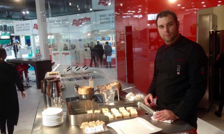 Nicola Dinato yesterday at Berto's stand, the first lesson at Identità Future