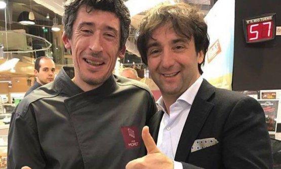 Stefano Basello con lo chef slovenoTomažKavčič