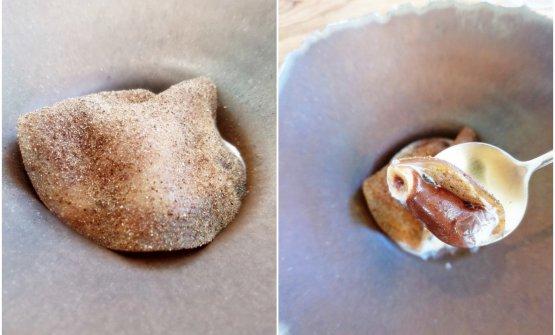 """Fungo porcino (il """"frutto del bosco""""), nocciole (frutta secca), cioccolato (estratto dai semi del frutto dell'albero del cacao) della Maison Duplanteur. Un dessert che declina superbamente il tema del Frutto"""