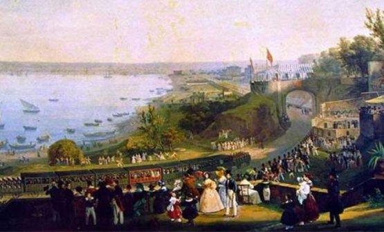 La Napoli-Portici in un dipinto dell'epoca