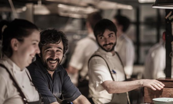 Two-starred chef Diego Guerrero, smiling, wearing