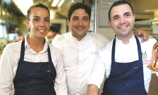 Mauro Colagreco with his sous-chefs Florencia Montes and Donato Russo