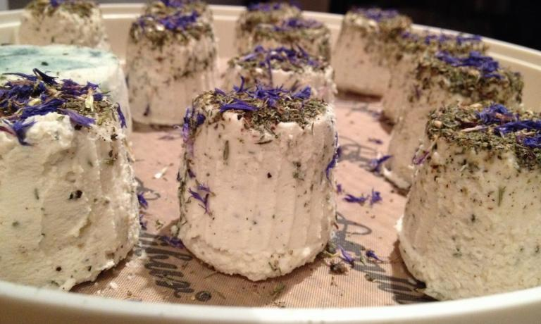 Vegan chef Daniela Cicioni's fermenting containers with macadamia and spirulina and heather flowers