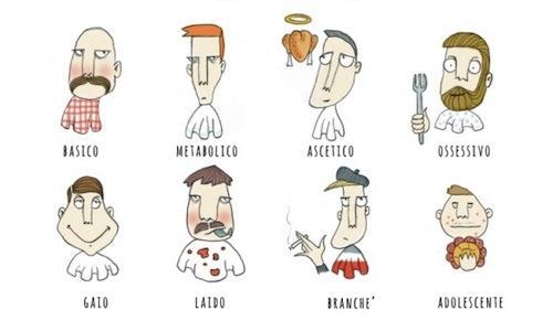 Tipologie di gourmet, una delle tante illustrazioni che compaiono in Pret-�-gourmet, il debutto per Mondadori del giornalista-illustratore Gianluca Biscalchin, con prefazione di Paolo Marchi. E' uno scanzonato viaggio nel mondo dell'alta cucina, da leggere d'un fiato